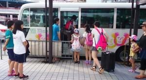 保養キャンプ1日目 バス